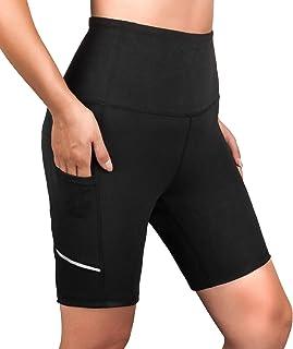 SERHOM Women's High Waist Yoga Shorts Tummy Control Yoga Leggings Side Pockets