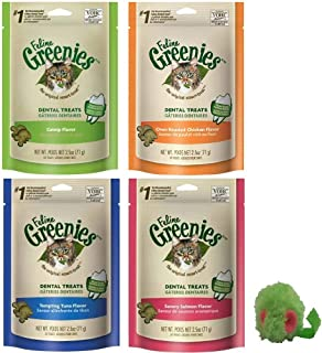 Greenies Feline Dental Treats Cats 5 Pack Variety Bundle - Includes 4 Bags Feline (2.5 Ounces Each) 1 Micro Mouse (Beef, Catnip, Chicken, Fusion)