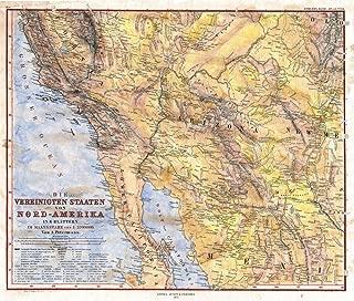 Great River Arts Antique Arizona Baja California New Mexico Southwest Historic Map Reproduction Artwork Wall Art Print Vintage, 36x55 Inches Hand Painted Original