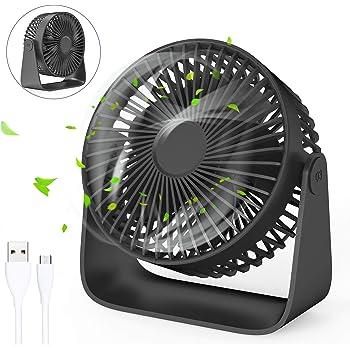 ventilador silencioso USB, ventilador de Escritorio portátil mini, 180° velocidad variable & Ángulo de rotación de ...