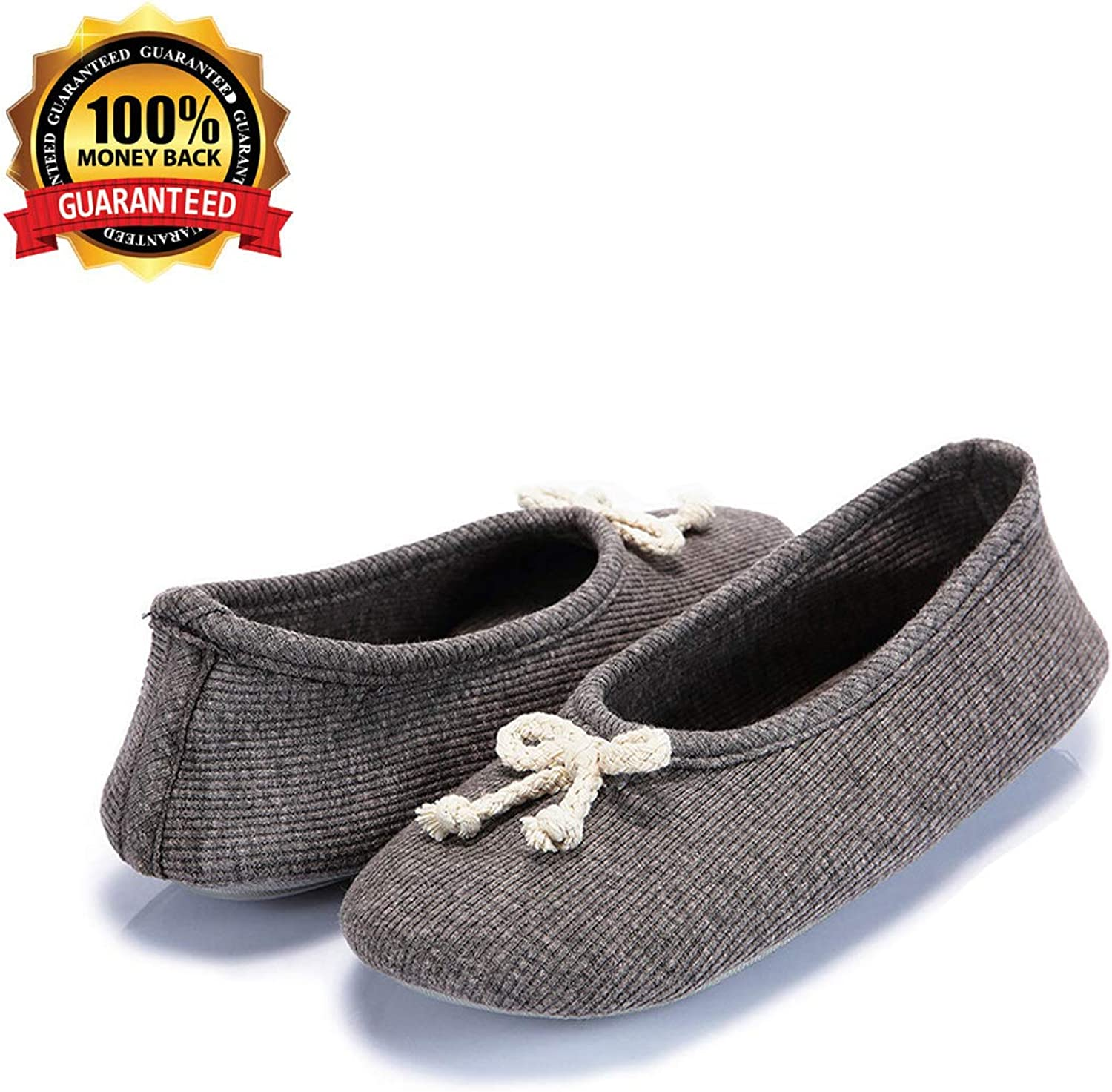 PopStore Women's Ballerina Slipper Memory Foam House shoes Comfort Knitted Soft Sole Indoor shoes