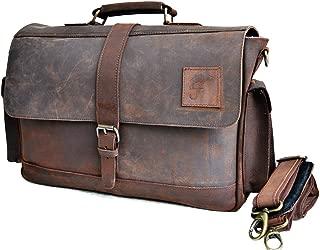 """15"""" Buffalo Leather Messenger Bag Laptop case Office Briefcase Gift for Men Computer Distressed Shoulder Bag"""