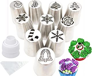 Cofe-BY Russian Piping Tips set for Cake Decorating-21pcs Icing Nozzles, Christmas Design Party Cupcake Icing Tips Pastry Baking Kits 10 Russian Nozzles-1 Coupler -10 Disposable Pastry Bags