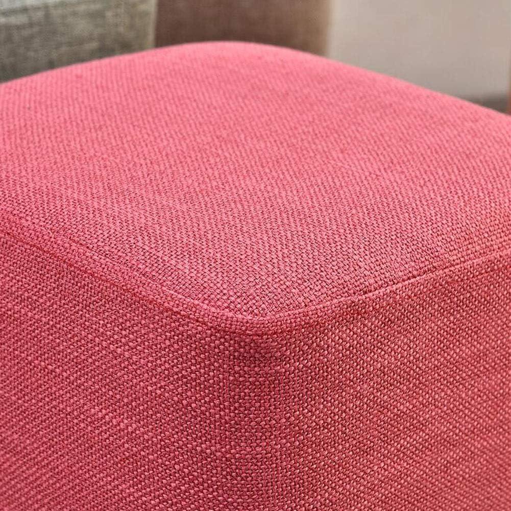 DALL Tabouret Bois Massif Tabouret Canapé Mode Moderne Petit Tabouret Couverture De Lin Salon Chambre Cuisine (Color : Gray 1) Pink