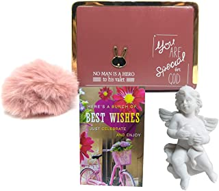 Saugat Traders Best of Luck Gift for Girls - Angel Showpiece, Best Wishes Card & Mini Wallet Purse - All The Best Gifts fo...