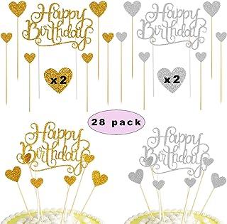 Sunshine smile Topper Feliz cumpleaños,Happy Birthday Decoraciones para Tarta,Happy Birthday Cake Topper,Cake Topper Estrellas,Topper de Pastel de cumpleaños(28 Piezas)