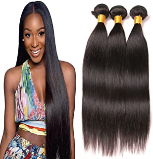 Brazilian Straight Hair 3 Bundles (8 10 12inch) 9A Unprocessed Virgin human Hair Extensions Hair Weave Double Weft Deals Natural Color