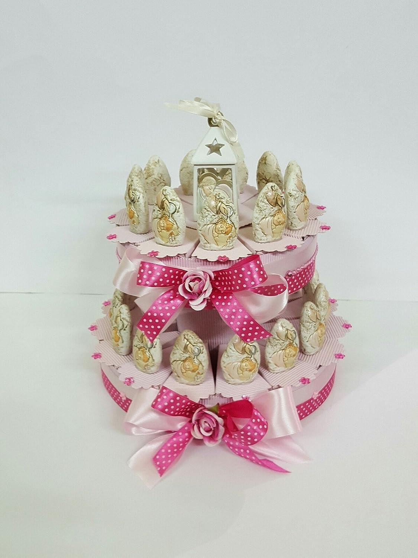Gastgeschenke angeordnet wie eine Torte zur Taufe von Mädchen Stein mit Kärtchen - personalisierbare Glückwunschkarten 25 FETTE ( DU PIAINI)