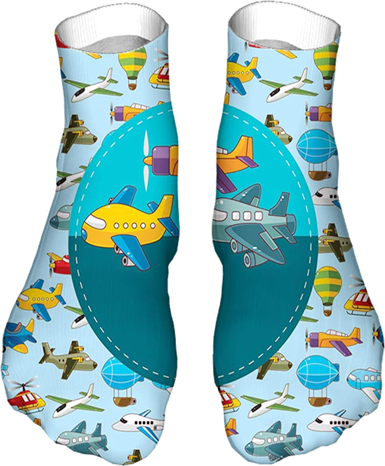 Men's and Women's Fun Socks Printed Cool Novelty Funny Socks,Colorful Retro Style Various Cartoon Airplanes Air Balloons