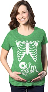 Maternity Skeleton Baby T Shirt Funny Cute Pregnancy Halloween Tee for Mothers
