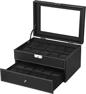 SONGMICS 20 Watch Box Mens Lockable Organizer Black Display Case with Glass Top UJWB301