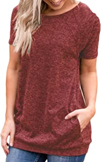 Defal Womens Summer Short Sleeve Round Neck Quick Dry Cool Tunic Tops Loose Gym Workout T-Shirt with Pockets