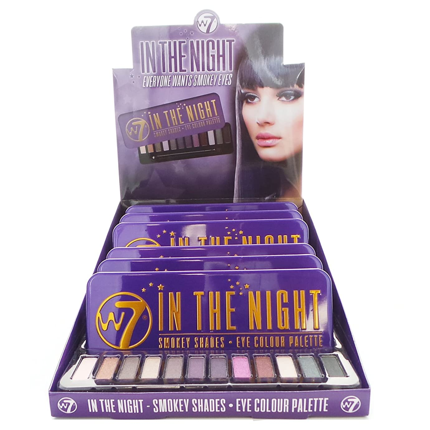 哲学博士鈍い咲くW7 In The Night Smokey Shades Eye Colour Palette Display Set, 6 Pieces plus Display Tester (並行輸入品)