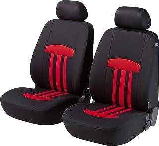 Walser Auto Sitzbezug Kent mit Reißverschluss, Zipp IT Schonbezüge Auto, 2 Vordersitzbezüge schwarz/rot 11797