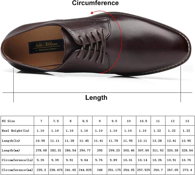 La Milano Men Dress Shoes Lace-up Leather Oxford Classic Modern Formal Business Comfortable Dress Shoes for Men