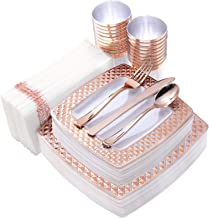 IOOOOO 175PCS Rose Gold Plastic Square Plates with Disposable Silverware & Cups & Napkins, Diamond Tableware include 25 Dinner Plates, 25 Salad Plates, 25 Cutlery, 25 Tumblers, 25 Guest Towels