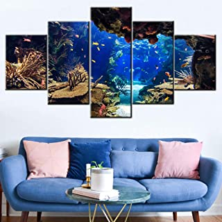 Home Decorations for Living Room Coral and Fish Paintings Underwater World Wall Art Undersea Pictures Aquarium Artwork Gallery-Wrapped 5 Panel Prints on Canvas Framed Ready to Hang(60''W x 32''H)