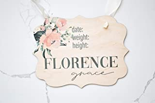 Hospital Door Hanger Girl Floral Nursery Name Sign Birth Stats Sign Girl Hospital Door Wreath Announcement Sign New Baby Keepsake