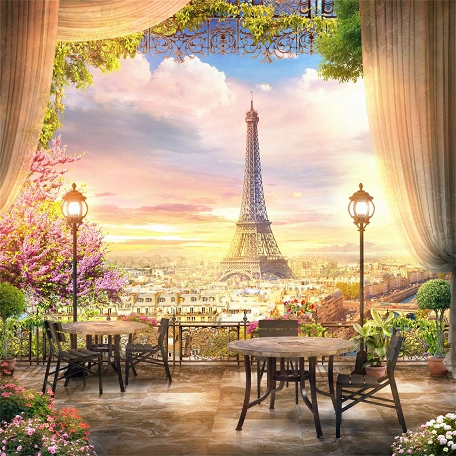 LFEEY 7x7ft French Dreamlike Paris Eiffel Tower Backdrop Balcony Curtain Flowers City View Photography Background Garden Tea Party Decoration Terrace Veranda Lamp Photo Booth Studio Prop Vinyl Banner