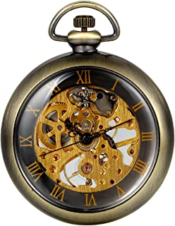 Men's Unisex Vintage Transparent Steampunk Open Face Hand Wind Mechanical Skeleton Pocket Watch for Men Women, 15 inch Chain