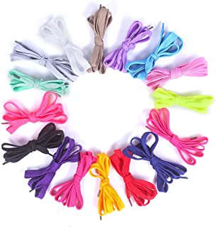 "43"" 16 Pairs-16 Different Colors Premium Flat Sneakers Shoelaces Shoe Tie Replacement - Colorful Fashion Dress Shoe Laces Strings Fastener for Sports Hiking Skates Boots - for Both Kids and Adults"