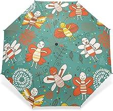 BAIHUISHOP Umbrella, Compact Travel Windproof Golf Umbrella, Sports Rain Umbrella - Strong Frame Unbreakable Bee leaves India Videos Pattern Portable Sunny Sky Rain Umbrella