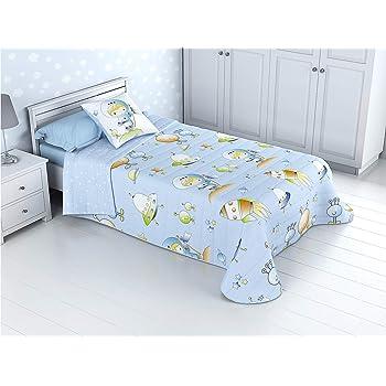 Cabetex Home - Colcha Bouti Infantil Reversible 100% con Funda de cojín y Tacto algodón Mod. Espacial (Cama de 90 cm (180x270 cm)): Amazon.es: Hogar