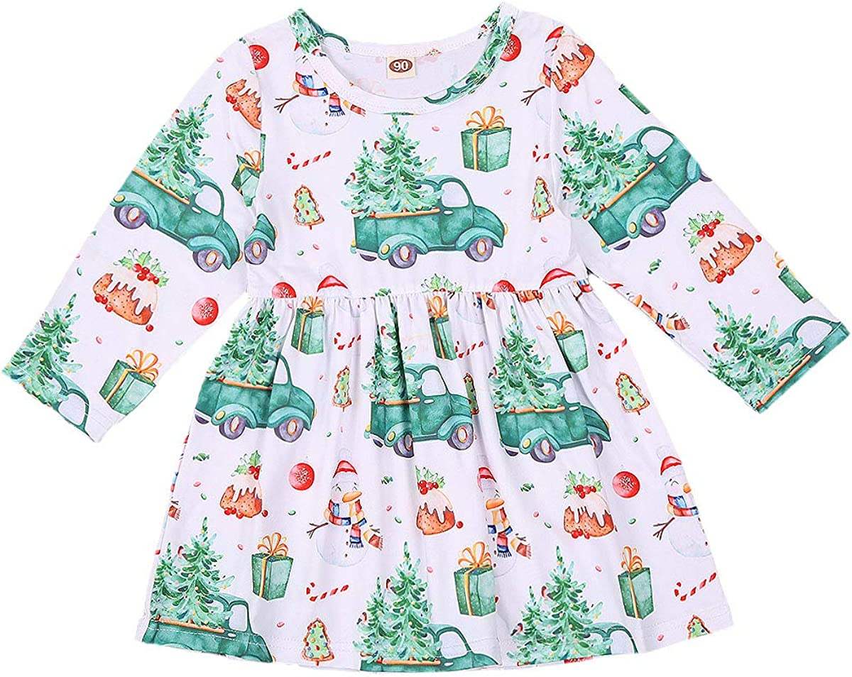 Toddler Free shipping Baby Girls Christmas Long Industry No. 1 Sleeve Truc White Snowman Tree
