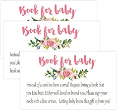 Pink Flowers Books for Baby Shower Request Cards (50 Pack), Baby Shower Invitation Inserts.