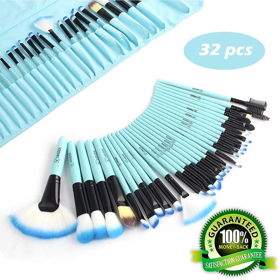 Professional Makeup Brushes for Women, 32 Pcs Makeup Brush Set, Cheap Makeup Brushes, Premium Cosmetic Brushes Kit with Case Bag, Synthetic Kabuki Face Eye Shadow Eyeliner Foundation Blush (Blue)