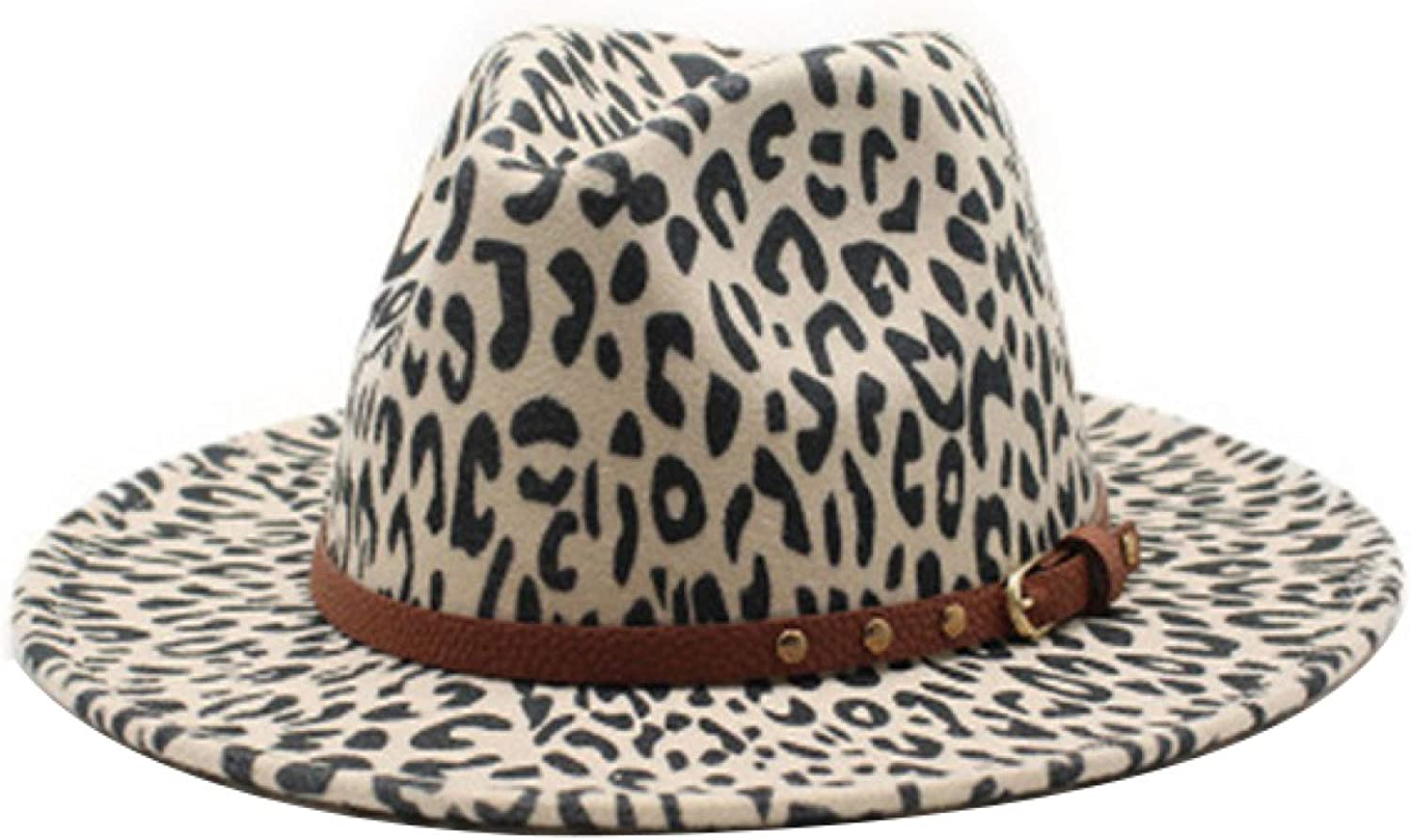 ASO-SLING Trendy Leopard Fedora Hats for Ladies Warm Panama Hat Dress Hats with Leather Belt Decorated for Cold Weather