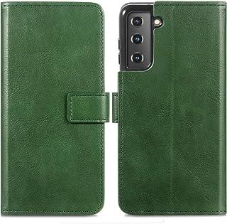 iMoshion compatibel met Samsung Galaxy S21 Hoesje – Luxe Booktype Cover – Book Case Telefoonhoesje in Groen [Met Standaar...