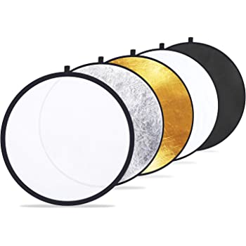 "Etekcity 24"" (60cm) 5-in-1 Photography Reflector Light Reflectors for Photography Multi-Disc Photo Reflector Collapsible with Bag - Translucent, Silver, Gold, White and Black"