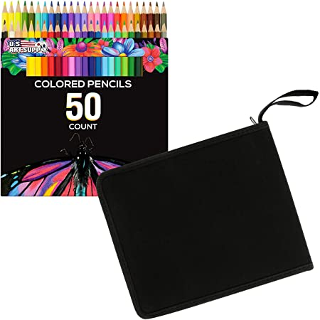 US Art Supply 50 Piece Adult Coloring Book Artist Grade Colored Pencil Set and Bonus Zippered Carry Case