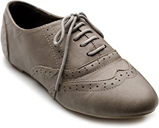 Ollio Womens 1ZM1914 Oxford-Flats Grey Size: 6