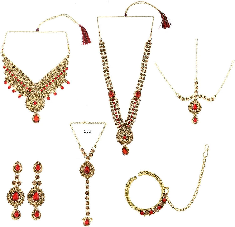Efulgenz Indian Bollywood Bridal Wedding Kundan Crystal Necklace Earring Maang Tikka Head Chain Nose Ring Bracelet Jewelry Set