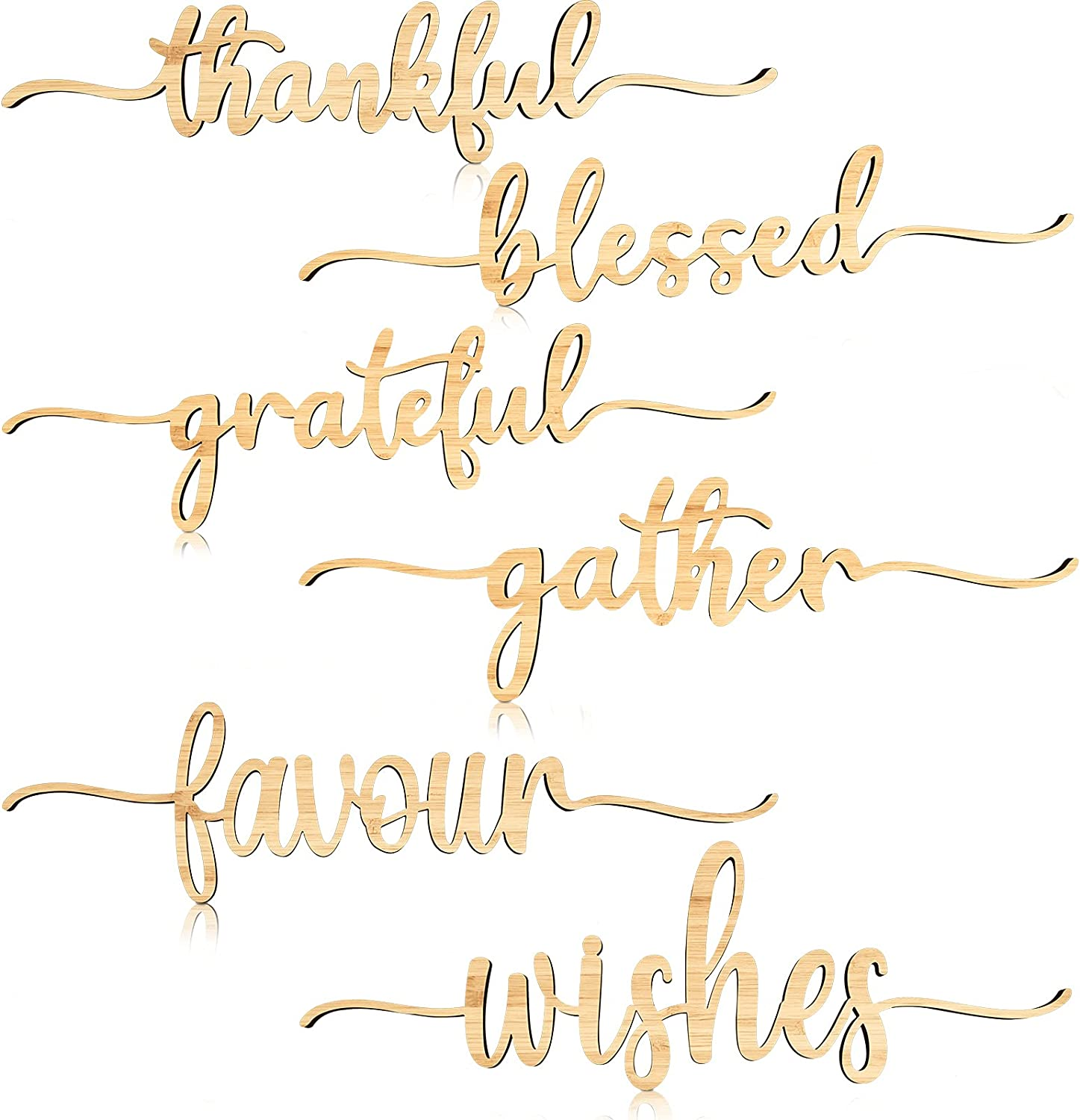Thanksgiving Cutout Wood Sign Thankful Grateful Blessed Word Sign Rustic Thankful Signs Thankful Place Cards Small Gather Sign for Home Table Decoration, 6 Styles (12 Pieces)