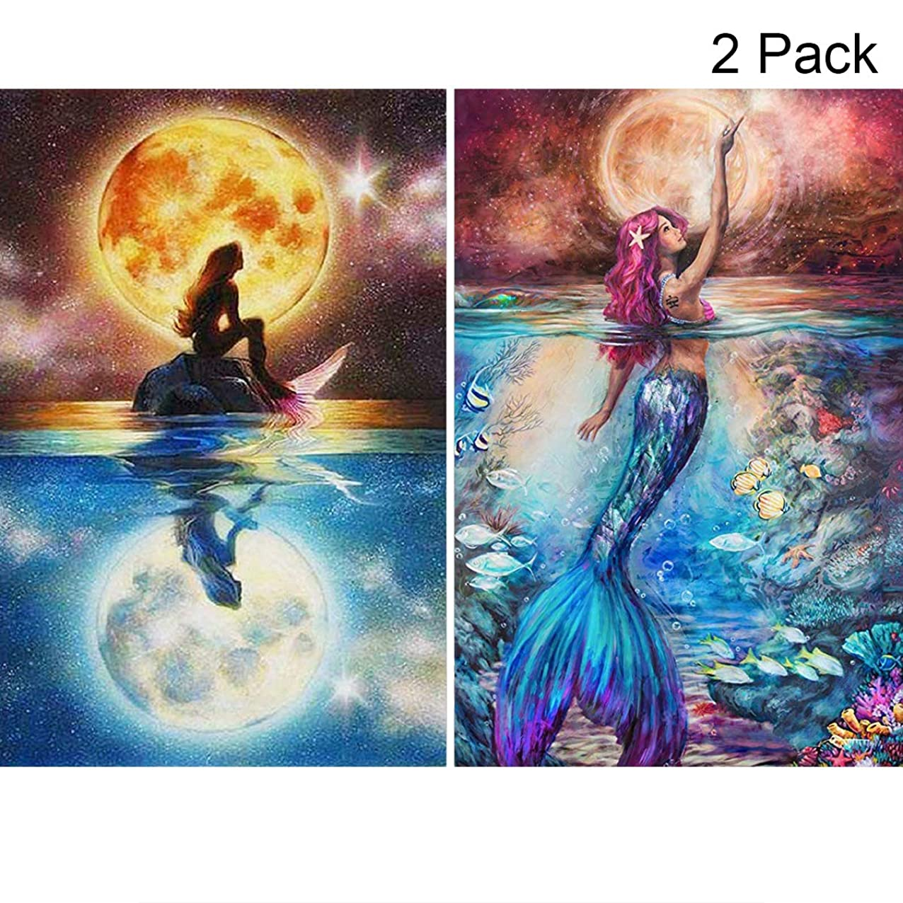 2 Pack 5D Full Drill Diamond Painting Kit, Mikimiqi DIY Diamond Rhinestone Painting Kits for Adults and Beginner Embroidery Arts Craft Home Decor, 15.8 X 11.8 Inch (Mermaid Diamond Painting) zbsqokncwpwmc843