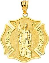 Certified 10k Gold Saint Florian Patron of Firefighters Charm Pendant