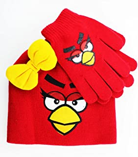 Angry Birds 2 Piece Winter Hat Set - Ms. Red Beanie & Gloves