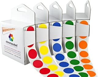 Removable Color-Code Dot Label Kit | 5 Assorted Standard Colors | 1000/Dispenser Box (3/4 inch)