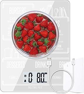 NUTRI FIT Báscula de Cocina Digital Multifuncional Recargable para Alimentos,con raspador de Comida, Alta precisión,portátil y función de Tara,Báscula de cocción y horneado de 11 LB/5 kg(Blanco)