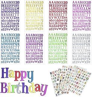 DECARETA 14 FeuillesLettre Alphabet Autocollante Paillettes Stickers Lettres et Chiffres Rétro Lettres Adhésives Stickers...