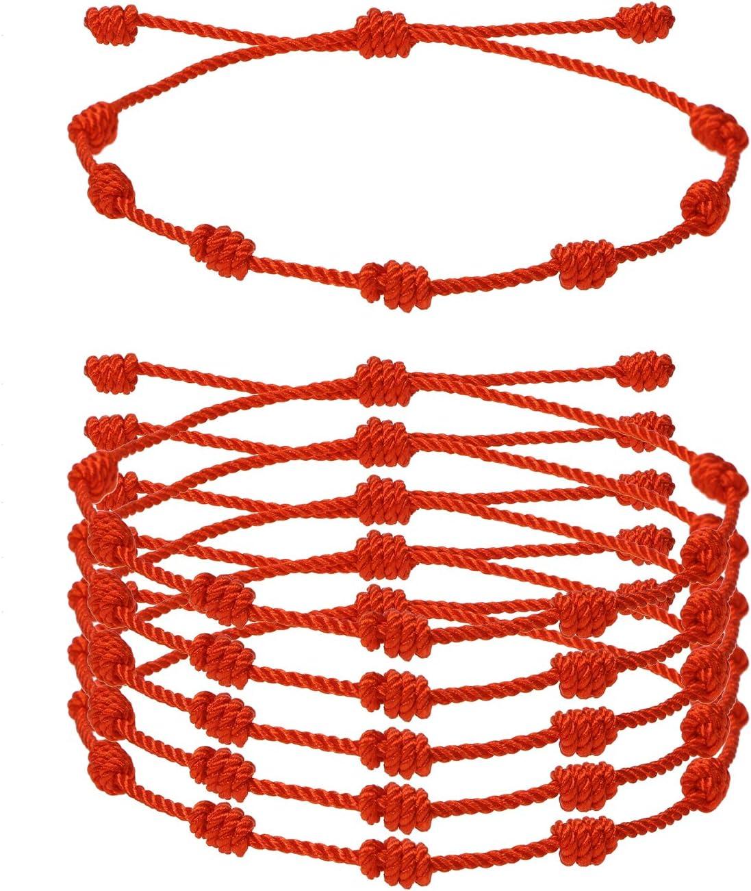 7 Knot Red String Bracelet Penta Angel 6Pcs Adjustable Good Luck Kabbalah Cord Bracelet Strap for Protection Success Friendship Graduation Birthday Lovers Gift for Men Women Girls Boys