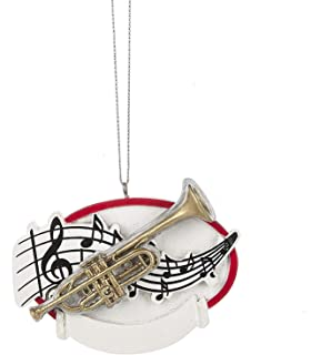 Trumpet Musical Notes 3.5 x 3 Inch Resin Christmas Ornament Figurine