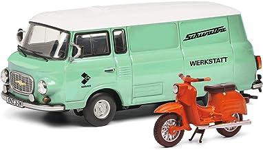 Schuco 450365400 Barkas B 1000 werkplaats, bestelwagen, met Schwalbe, modelauto, schaal 1:43, Limited Edition 750, groen