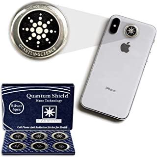 My-JAXO Premium 6 Pack Anti Radiation Stickers for Phone - Emf Protection Cell Phone - Radiation Protection for Cell Phone - Emf Blocker - Absorbs EMF Radiation - Remove EMF Waves EMF Shield Silver
