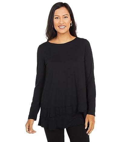 Mod-o-doc Slub Jersey Asymmetrical Long Sleeve Flounce Hem Tee (Black) Women
