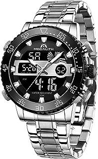 MEGALITH Reloj Digital Hombre Deportivo Relojes Analogicos Digitales Acero Inoxidable Relojes de Pulsera LED Cronometro Es...
