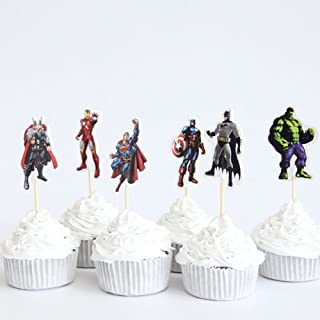 SXK Co. The Avengers Captain America Super Hero Cupcake Toppers 2 Dozen (24 Toppers)